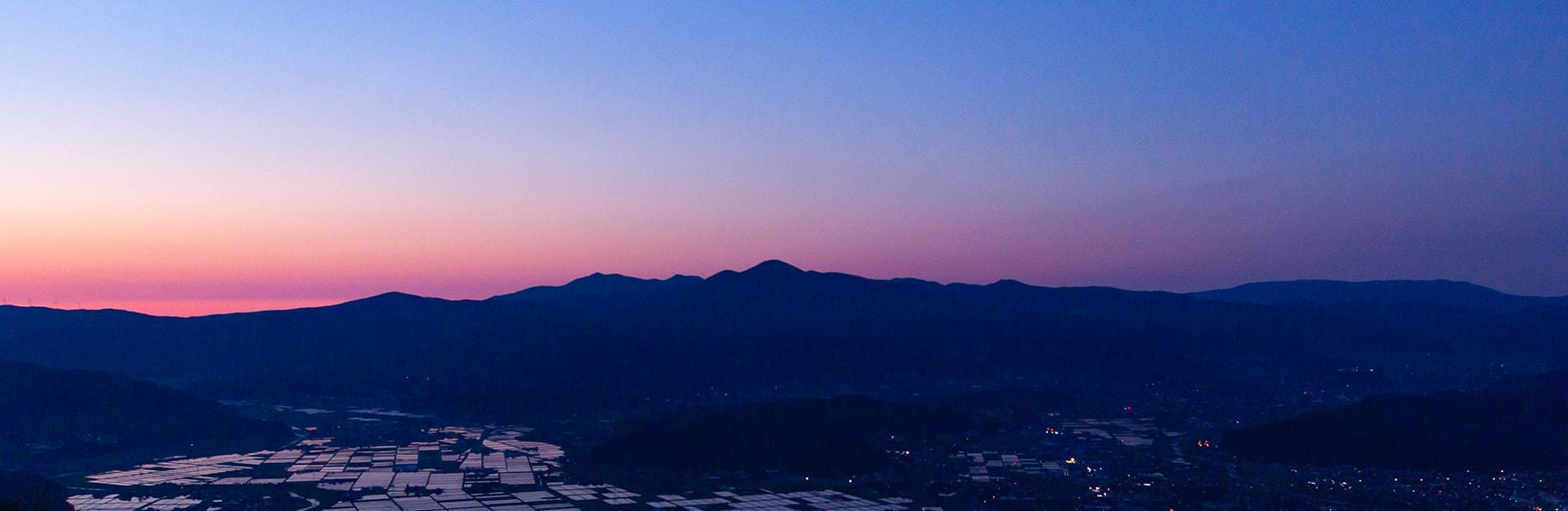 夕方の遠野の町